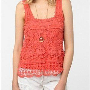 Pins And Needles | Coral Lace Tank with Lining